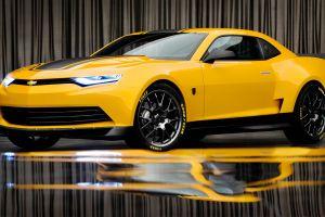 car yellow chevrolet sports car