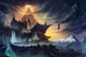 castle artwork fantasy art sky