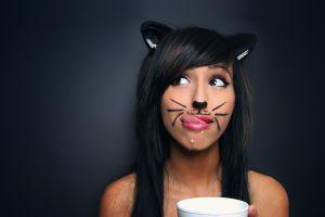 cat ears tongues cat girl model women cup milk makeup