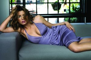 celebrity actress jessica biel looking at viewer women brunette dress couch