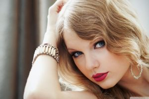 celebrity blonde taylor swift red lipstick hoop earrings face bracelets blue eyes glamour women women