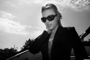celebrity monochrome actress women with glasses women scarlett johansson