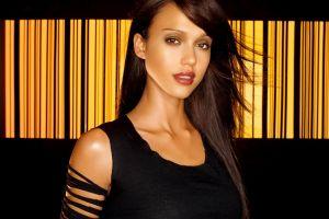 celebrity women jessica alba actress brunette black clothes red lipstick brown eyes black clothing