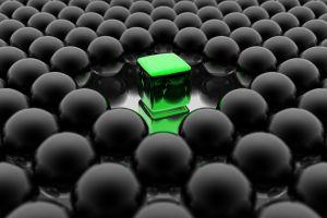 cgi green render black balls digital art