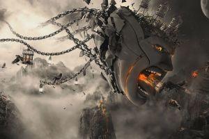 chains fantasy art surreal face digital art