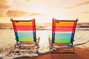 chair colorful beach sea sky
