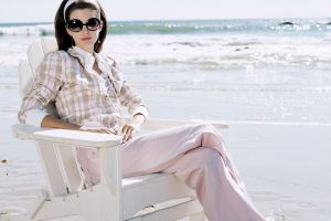chair model brunette sunglasses sea women women with glasses
