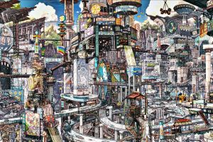 chaos advertisements clouds billboards road anime digital art fantasy city boat cityscape car ferris wheel japanese colorful city