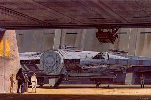 chewbacca concept art ralph mcquarrie star wars millennium falcon artwork luke skywalker r2-d2 science fiction