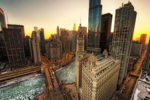 chicago clock tower skyscraper cityscape hdr
