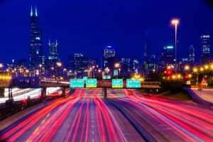 chicago road long exposure night highway light trails cityscape vignette
