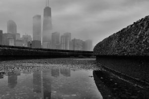 chicago worm's eye view monochrome cityscape