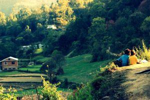 children green group of people love flowers landscape nepal