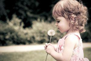 children side view profile brunette dandelion