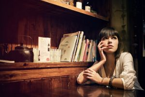 chinese women short hair model books blouses looking up bracelets