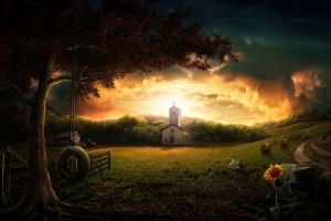 church flowers sky artwork landscape sunlight clouds