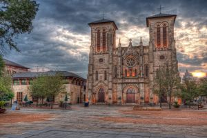 church sky sunset cathedral cityscape san antonio hdr