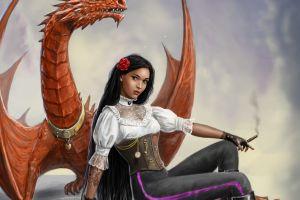 cigars dragon fantasy art smoking women flower in hair fantasy girl looking at viewer deviantart