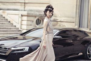 citroen numero 9 vehicle standing asian looking at viewer dress brunette model headdress women with cars car women