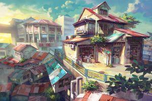 city artwork anime cityscape