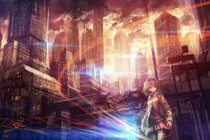 city artwork anime girls futuristic anime fantasy art cityscape