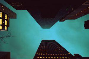city building skyscraper worm's eye view