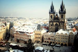 city cityscape winter prague