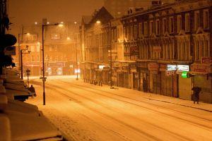 city cold building snow street