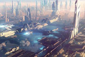 city futuristic city skyscraper