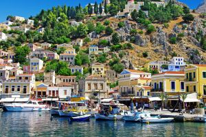 city greece boat colorful