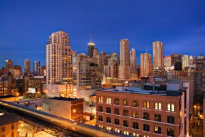 city lights hdr chicago building cityscape
