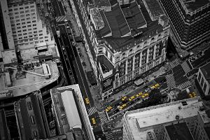 city manhattan aerial view selective coloring traffic taxi new york city