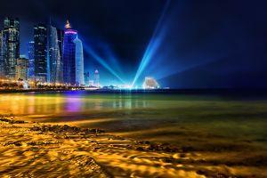 city night water cityscape night sky