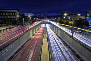 city road long exposure lights light trails