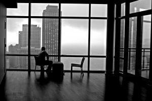 cityscape alone monochrome