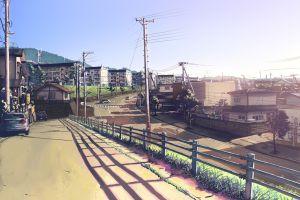 cityscape anime city artwork