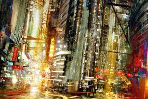 cityscape artwork lights building daniel dociu concept art science fiction