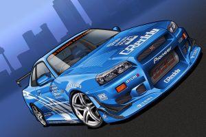 cityscape artwork nissan skyline gt-r nissan car blue cars vehicle