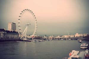 cityscape boat ferris wheel river london london eye river thames england bridge