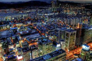 cityscape clouds building seoul hdr lights south korea