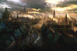 cityscape darek zabrocki  fantasy city riots town artwork civil war