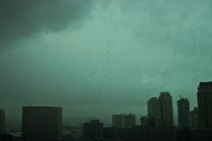 cityscape dark rain