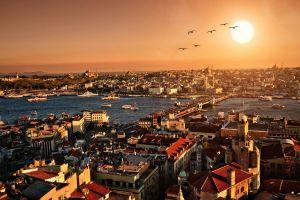 cityscape istanbul turkey sunset