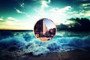 cityscape landscape polyscape circle digital art nature sea