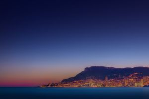 cityscape lights sea europe night monaco sky