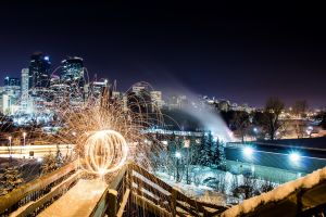 cityscape long exposure building lights