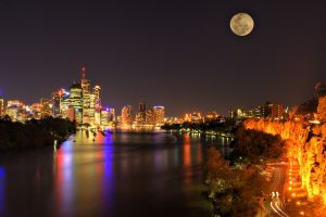 cityscape night brisbane australia river building moon lights