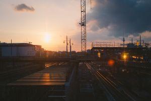 cityscape railway sunset sunlight