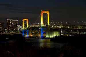 cityscape rainbow bridge bridge tokyo