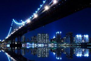 cityscape reflection lights bridge